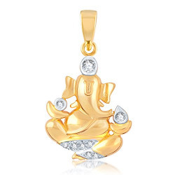 VK Jewels LAMBODAR Gold and Rhodium Plated Alloy God Pendant for Men & Women made with Cubic Zirconia - PS1010G [VKP1010G]