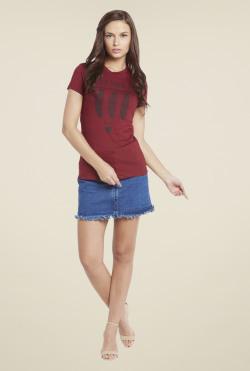 Globus Maroon Printed T Shirt