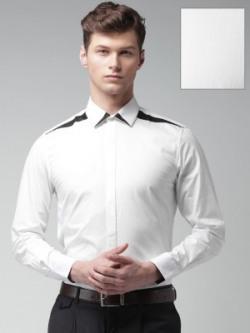 Invictus Men's Self Design Formal White Shirt