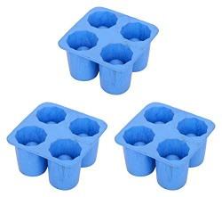 IRP Rubber Ice Shot Rubber Mould, 3-Piece, Blue