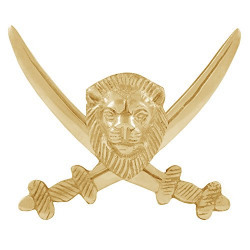 Autofy Brass Cross Sword Lion Face Decal Badge for All Bikes (Gold)