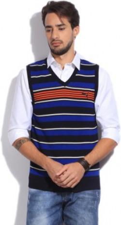 Puma Striped V-neck Casual Men Blue Sweater