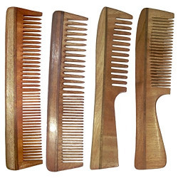 Simgin wooden combs - Combo of 4 Neem Wood Combs (Regular+Handle)- S-ABCE