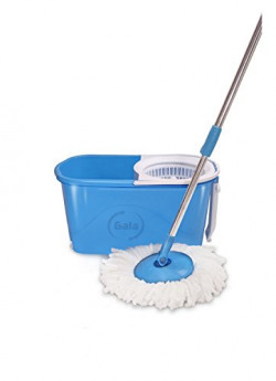 Gala e-Quick Spin Mop with Easy Wheels and Bucket for Magic 360 Degree Cleaning (with 1 refill free)