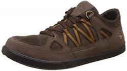 Woodland Men's Dark Brown Leather Sneakers - 8 UK/India (42 EU)