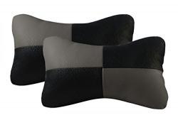 Speedwav 20454 Designer Seat Neck Cushion Pillow for Car (Black and Grey, Set of 2)