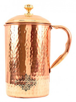 IndianArtVilla Hammered Copper Jug Pitcher, Serveware & Tableware Set, Good For Health, 1300 ML