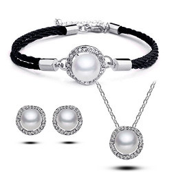 Youbella Presents Gracias Collection Pearl Jewellery Combo Of Pendant Set With Earrings And Bracelet For Women