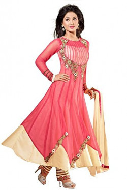 Vibes Womens Georgette Patch Work Anarkali Dress Material (V288-54011 _Pink _Free Size)