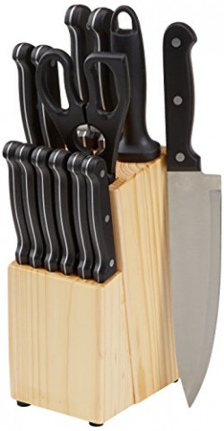 AmazonBasics Stainless Steel Knife Set with Block, 14-Pieces, Multicolour