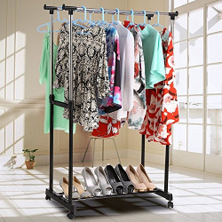 Anvey Stainless Steel Premium Double-Pole Adjustable And Portable Clothes Hanger