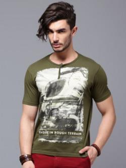 Roadster Printed Men's Henley Dark Green T-Shirt