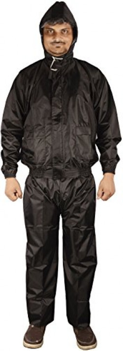 Autofy Micro Polyester Complete Rain Suit / Rain Wear and Carry Bag (Black, Large)