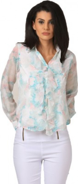 LiLium Casual Roll-up Sleeve Floral Print Women's Multicolor Top