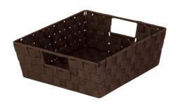 Honey-Can-Do Woven Tray Shelf Tote with Handles (Espresso Black)