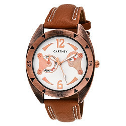 Cartney Analog Leather Strap White Dial Men's Watch Round Shape - CT101