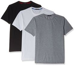 Qube by Fort Collins Men's T-Shirt (Pack of 3) (186-SP3_M_Black, White and Acrew)
