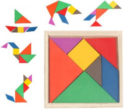 Emob Wooden Tangram Jigsaw Puzzle Board Game For Toddler Educational Toy