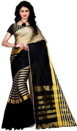 Trendz Style Printed, Striped Fashion Tussar Silk, Cotton, Cotton Linen Blend Saree