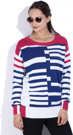 Lee Striped Round Neck Casual Women White, Blue, Pink Sweater