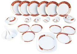 Blue Streak Melamine Dinner Set of 32 Pieces with Traditional Prints, Serving for 6