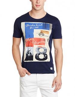 Flying Machine Men's T-Shirt (8907378986528_FMTS9692_Large_Navy)
