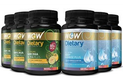 Wow Garcinia Ultra Plus - 90 Capsules with Wow Body Cleanse Plus Booster - 60 Capsules (Pack of 6)