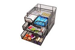 Callas Mesh Collection 3 Compartment Desk Organizer, Black, CA2503