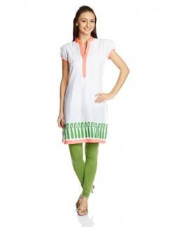 Rangriti Women's Cotton White and Green Straight Kurta (VB-24_White and Green_32)