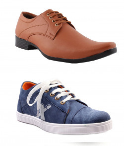 ALESTINO Leather look Men's Black and Blue Combo's Casual sneakers (8)