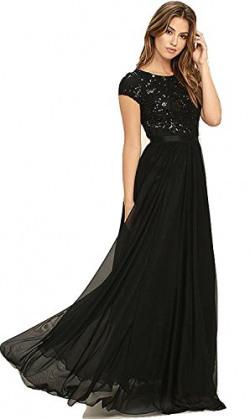 Royal Export women's Black Georgette Gown