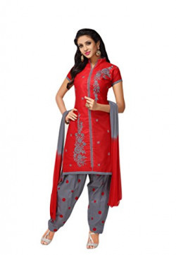 Oomph! Cotton Embroidered Salwar Suit Dupatta Dress Material - Crimson