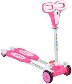 Planet Of Toys 4 Wheeler Y Fliker Folding Zip Flick Style Double Board Self Propelled Foot Scooter (Pink) For Kids / Children