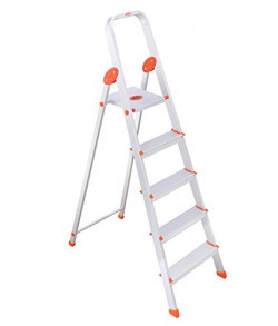 Bathla Ultra-Stable 4-Step Foldable Aluminium Ladder 110 cm (3.6 ft.) for Home Use with 5-Year Warranty