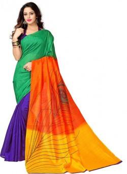 Glory Sarees Printed Fashion Cotton Linen Blend Saree