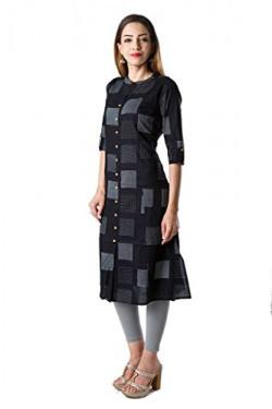 AnjuShree Choice Women's Black Cotton Straight Kurti