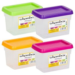 Wham Box & Lid Small Handy Storage Plastic Containers, 490ml, Set of 4, Assorted
