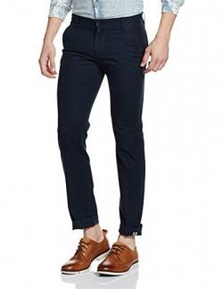 Symbol Men's Slim Fit Casual Trousers (S17TRS05-3_34W x 31L_Navy)