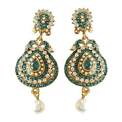 Surat Diamonds Drop Shaped Designer Blue & White Coloured Stone, Shell Pearl & Gold Plated Hanging Earrings for Women (PSE16)