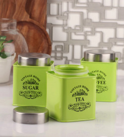 Dynore Half Deck Green Round 950 ML Tea, Coffee and Sugar Canister - Set of 3