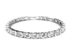 NEVI Stylish Round Swarovski Elements Rhodium Plated Brass Kada Bracelet Bangle Jewellery for Women And Girls (Silver)