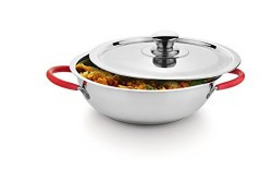 Classic Essentials Stainless Steel Capsule Bottom Kadai with Steel Lid 25 cm