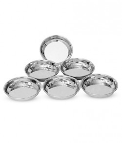 Classic Essentials Stainless Steel Halwa Plate Of 6pcs