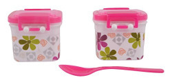 Ambika Plastic Containers Box (2-Piece, Pink)