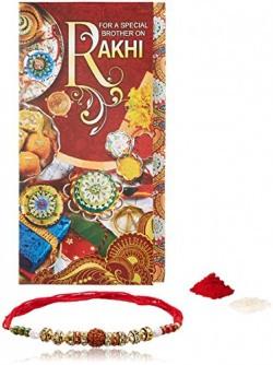 Rakhi Combo for Men with Greeting Card and Roli Chawal Tilak