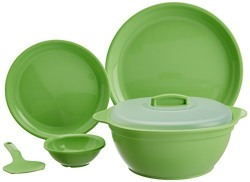 Signoraware Round Dinner Set, 21-Pieces, Parrot Green