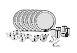 Classic Essentials MGR109 Magic Range Stainless Steel Dinnerware Set, 30-Pieces, Silver