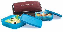 Signoraware Twin Smart Lunch Box with Bag, T Blue