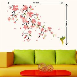 Decals Design 'Humming Bird and Pink Blossoms' Wall Sticker (PVC Vinyl, 50 cm x 70 cm)