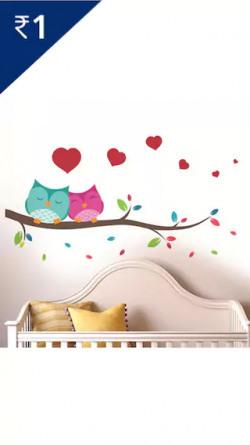 WallTola Love Couple Owl Wall Sticker